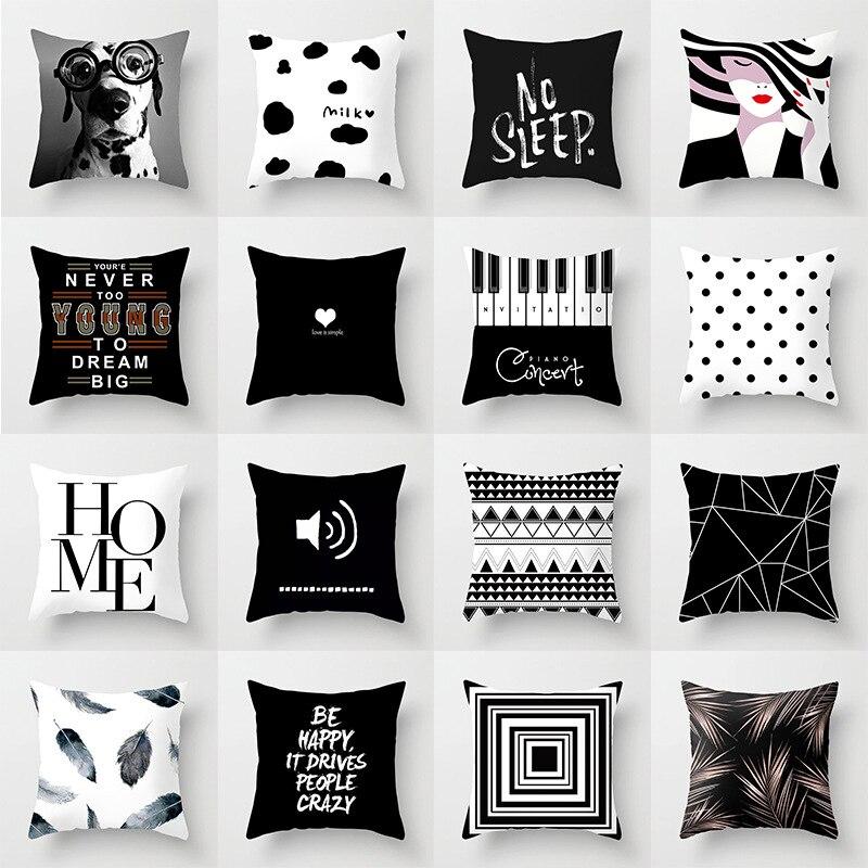 Black White Geometric Cushion Cover Polyester Throw Pillow Case Car Sofa Bed Decorative Pillowcase 45*45cm INS Nordic Home Decor