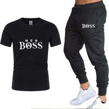 Camisa masculina treino de duas peças define masculino casual de fitness esporte terno de manga curta t camisa + calças casuais ternos