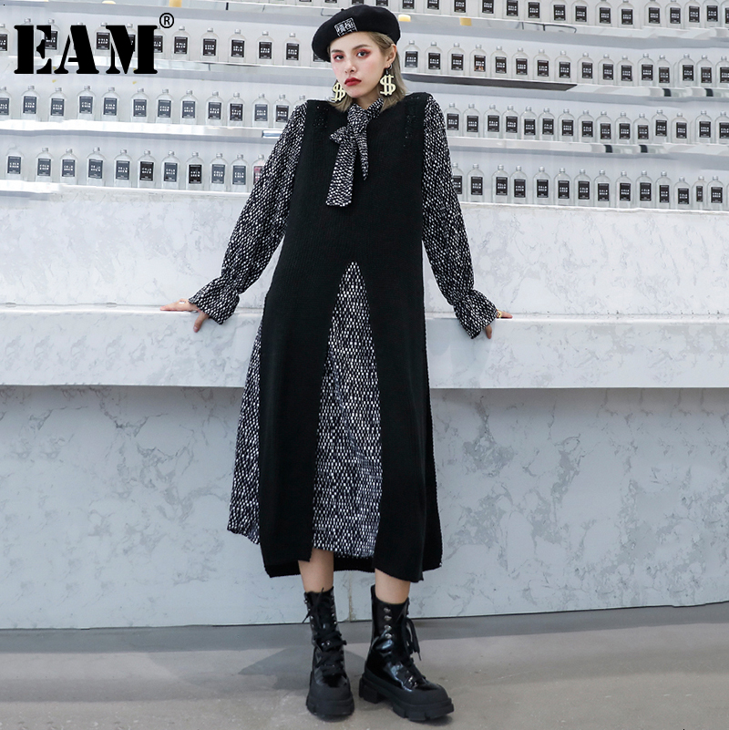 [EAM] Women Black Knitting Pattern Print Two Piece Dress New Bow Collar Long Sleeve Loose Fit Fashion Spring Autumn 2019 1H347