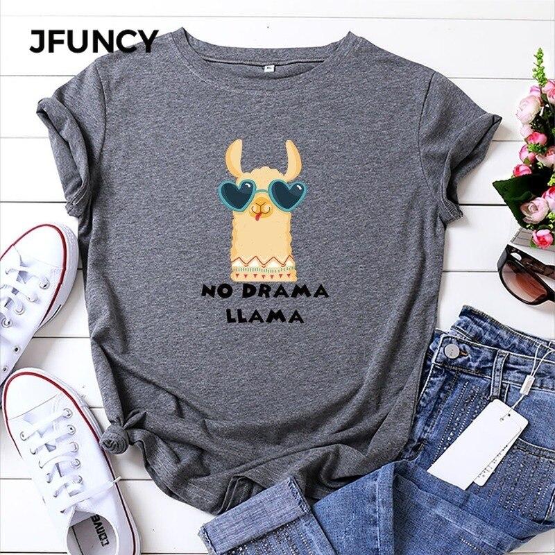 JFUNCY Plus Size Printing Women T-Shirt Cute Alpaca Woman T Shirt Summer Cotton Short Sleeve Female Tees Lady Tops Casual Tshirt
