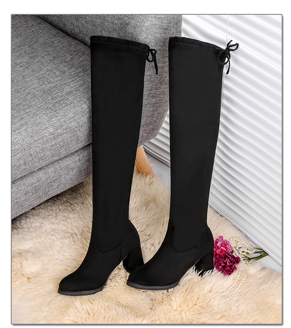 2020 mode femmes bottes printemps hiver sur le genou talons qualité daim Long confort carré Botines Mujer cuissardes