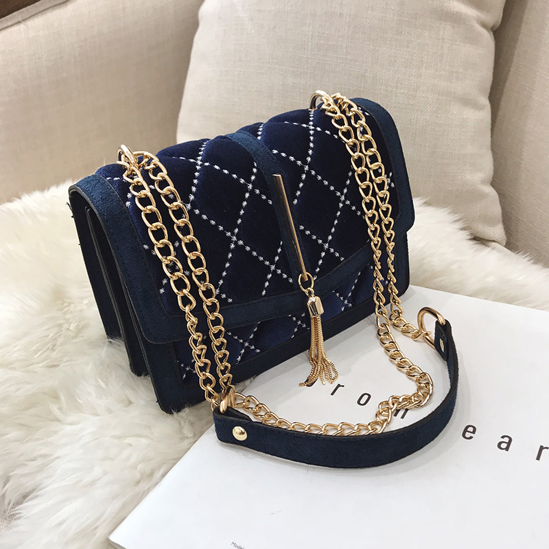 Image 4 - 2018 Winter Design Velvet Plaid Noble Blue Lady Shoulder Bag 