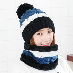 Image 2 - New Winter Womens Velvet Wool Hats Twist color matching Beanies Skullies Hat Female Riding Bib Knitted Hats Sets Wholesale