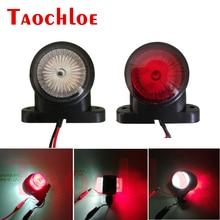 Luz led marcador para posição de caminhão, 2 peças, luz traseira, lâmpada led vermelho e branco 12v 24 luzes laterais do estacionamento v