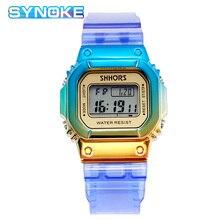 SYNOKE Gradient Transparent Watch 2019 Fashion For Girls Waterproof Sports Watches Student Kids reloj ni o digital