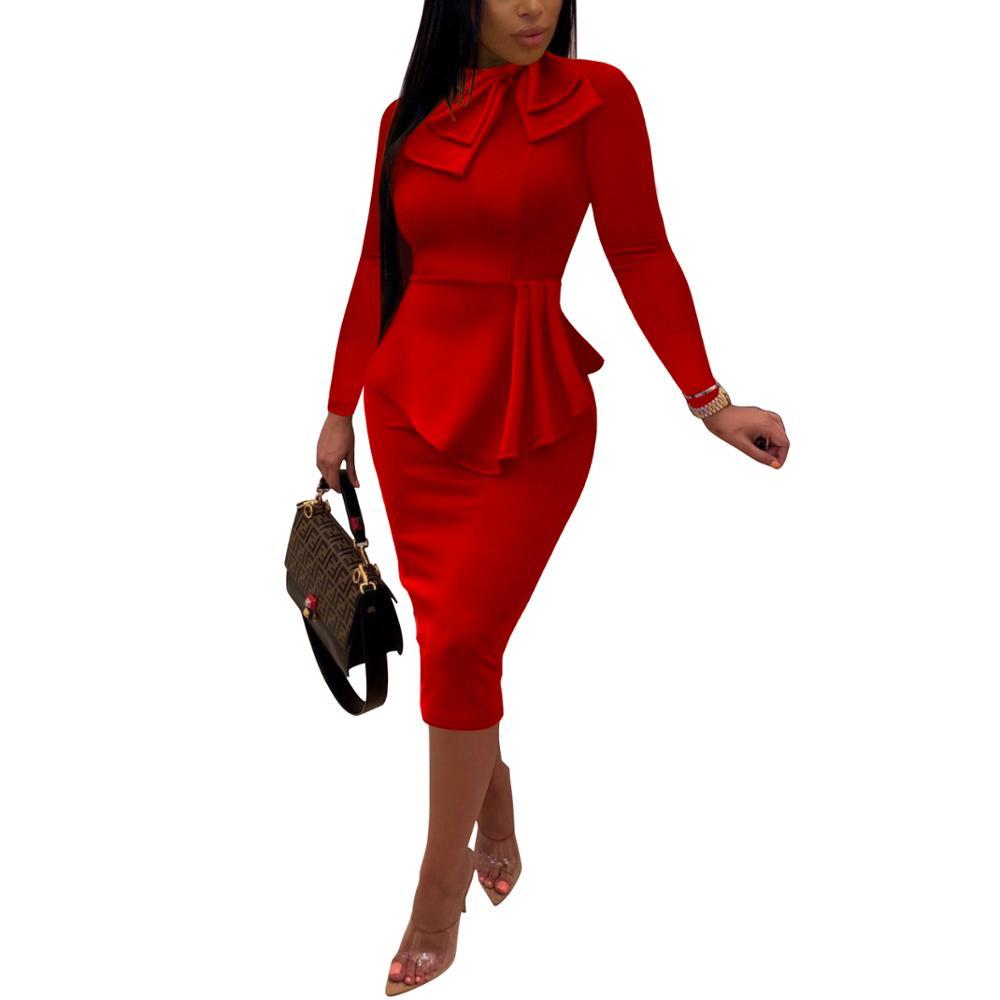 2019 Autumn Fashion Women Office Dresses Peplum Pencil Dress Sleeve Formal Business Attire Wear To Work Dresses Outfits