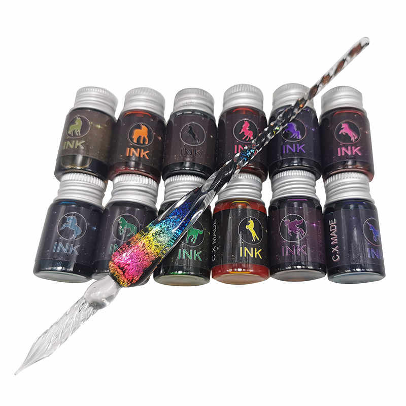 """1 מח""""ש עט בתוספת 12 בקבוקים של צבע דיו מכתבים סט זכוכית סטודנט עט כתיבה אספקת ציור עט אריזת מתנה"""