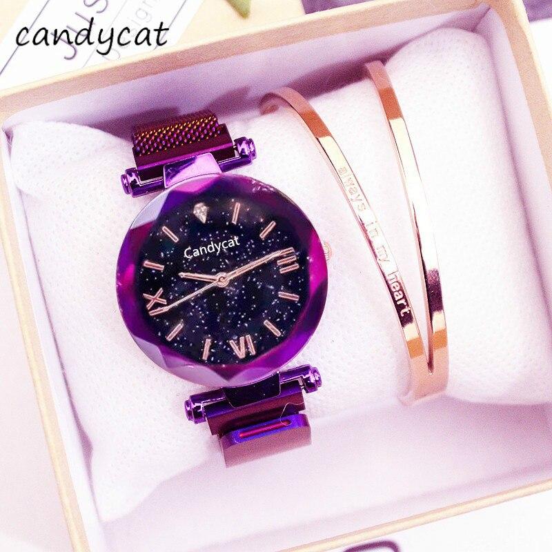 CandyCat Super Popular  Watch Female Students Korean-Style Simple Fashion Trend TikTok Celebrity Inspired Starry Women's Watch