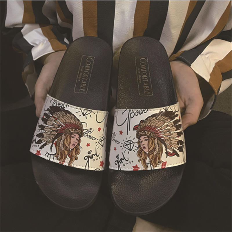Fashion Totem Summer Slippers Woman Shoes Beach Slippers Open Toe Sandals Flat Rubber Shoes Non-slip Outdoor Flip Flops Female