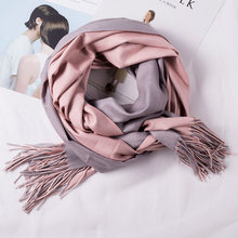 With Tassels Windproof Reversible Scarf Pashmina Soft Winter Artificial Wool Women Shawl Travel Solid Wrap Fashion Long Large(China)