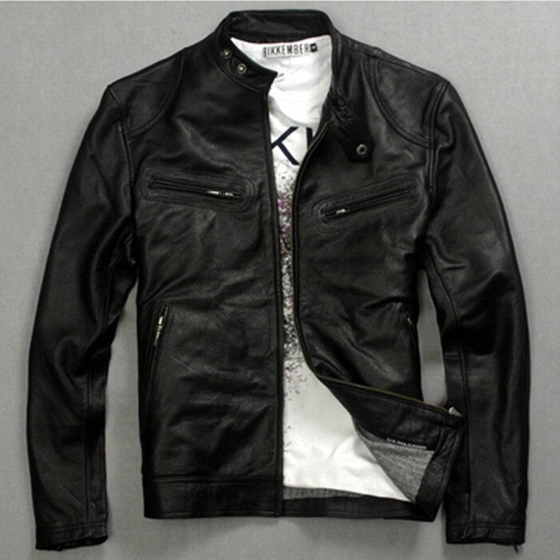 Genuine Leather Jacket Man 2020 Real Cow Leather Coat Men's Fashion Motorcycle Jackets 006 MF062