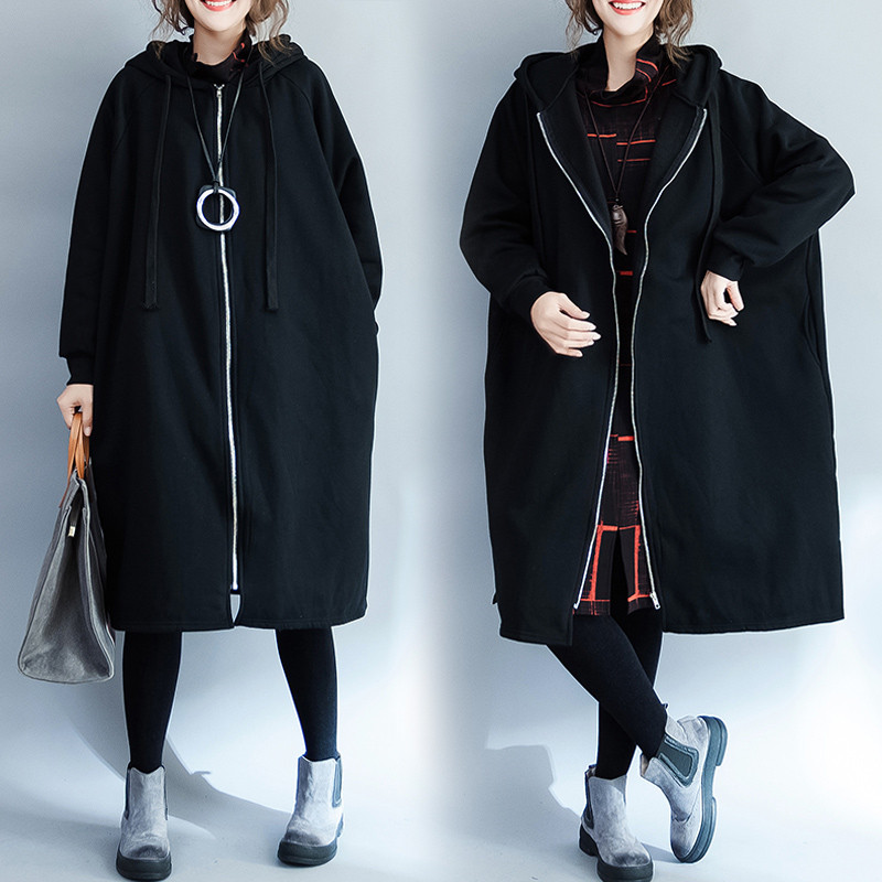 New Large Size Women's Long Windbreaker Coat 2020 Spring Autumn   Trench   Coats Black Oversized Overcoats N1086