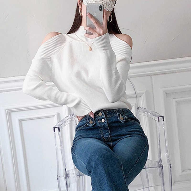 2019 Fashion Musim Dingin Kerah Cold-Shoulder Wanita Rajutan Jumper Lengan Panjang Pullover Wanita Sweater Tops