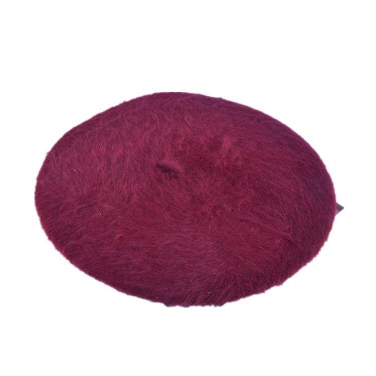 1 шт. женская элегантная разноцветная Шапка-берет из меха кролика - Цвет: red wine