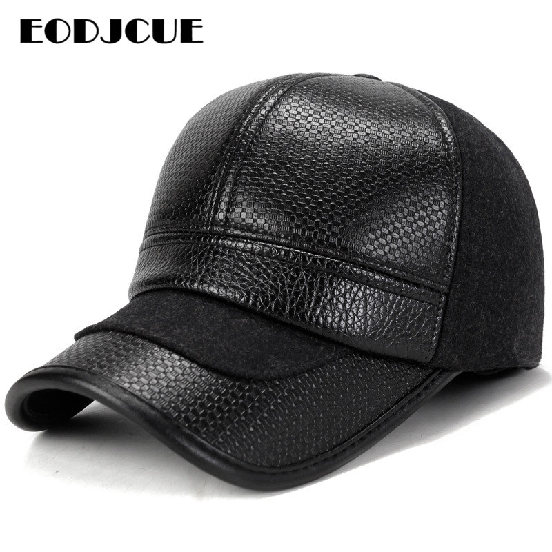 PU Leather Baseball Cap Men Russia Ushanka Bomber Hats Pilot Trapper Trooper Hat Winter  Earflap Men Snow Caps Gorro