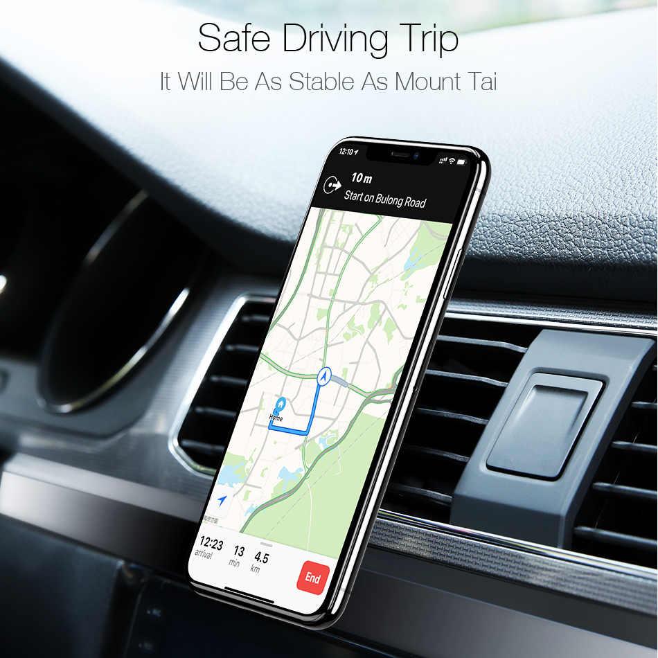 Soporte magnético de teléfono de coche de Metal Mini soporte de rejilla de ventilación soporte magnético móvil para iPhone XS Max Xiaomi Huawei Smartphones en el coche