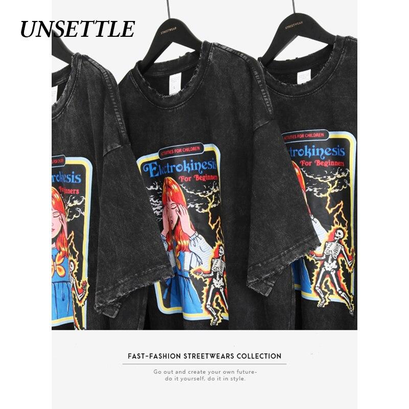 UNSETTLE 2020SS Harajuku T-shirts Summer Men/Women Hip Hop Funny Print Retro Fashion Streetwear T Shirt Short Sleeve Tee Tops