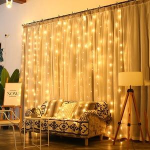 Image 4 - Thrisdar 2x3 متر/3x3 متر LED الشمسية نافذة الستار سلسلة ضوء في الهواء الطلق حديقة الشمسية الستار جليد جارلاند ضوء لعيد الميلاد عطلة