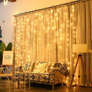 Image 4 - Thrisdar 2x3M/3x3M LED Solar Window Curtain String Light Outdoor Garden Solar Curtain Icicle Garland Light For Xmas Holiday