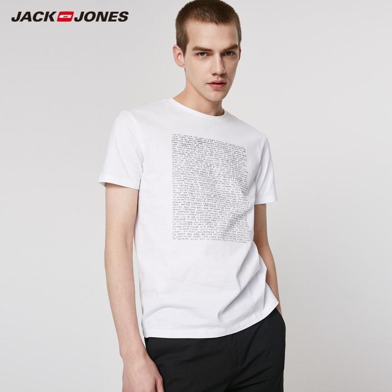 JackJones Men's 100% Cotton Two-color Letter Print Round Neckline Short-sleeved T-shirt Basic Menswear| 219201537