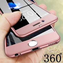 360 Degree Full Cover Red Cases For iPhone 7 Plus Case 7Plus Tempered Glass iphone7 iphone 6 6s Phone Capa Black