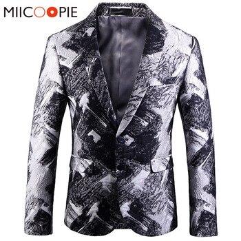 Korean Suit Men Dress Coat New Vintage Silver Cross Gradient Jacquard Casual Slim Fit Mens Blazer Jacket Business Ropa De Hombre