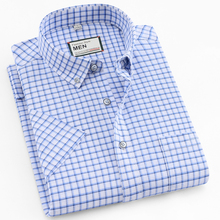 Мужская Тонкая Клетчатая рубашка с коротким рукавом и карманом в полоску, эластичная оксфордская рубашка с воротником на пуговицах, Стандартная посадка, повседневные рубашки из хлопка