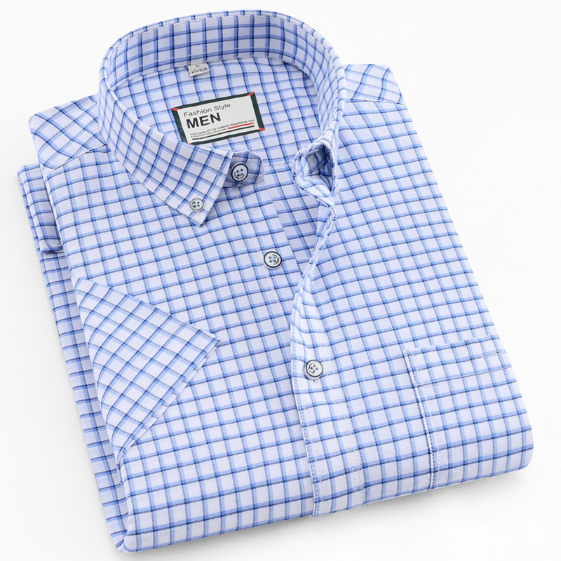 Men's Thin Short-Sleeve Plaid/Stripe Pocket Stretch Oxford Shirt Button Down Collar Standard-fit 100% Cotton Casual Shirts