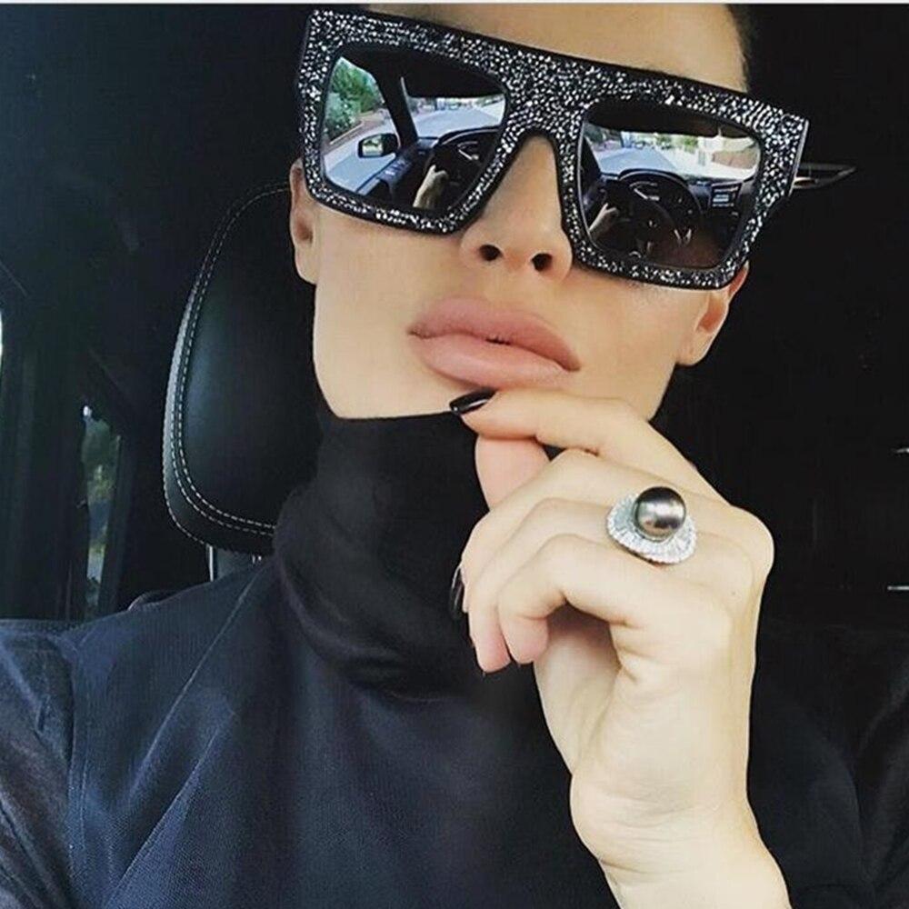 Luxury Rhinestones Cool Driving Sunglasses Women 2020 New Fashion Square Big Box Men Women General Glasses
