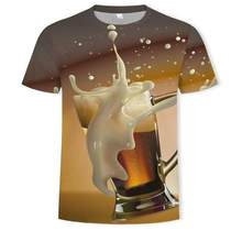 Nueva camiseta 3D cerveza hombres parágrafos pquer hip-hop cuello redondo de manga corta mujeres hombres camiseta estampada topo