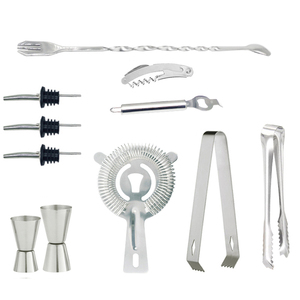 Stainless Steel Cocktail Shaker Bar Tool With Strainer Pourer Spouts Mixing Spoon Channle Knife Ice Tongs Measuring Cup