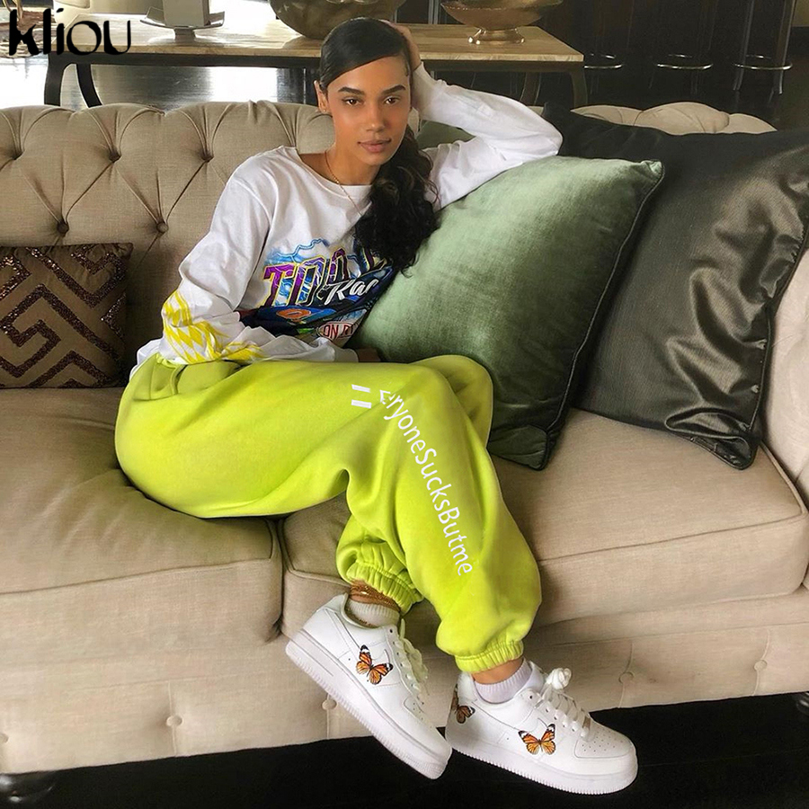 Kliou 2019 High Pants Autumn Winter Sweatpants Women Casual Harem Pants Pocket Loose Trousers For Women Green Letter Side Female