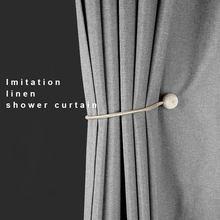 Japon kumaş duş perdeleri kalınlaşmak imitasyon keten su geçirmez banyo Polyester banyo lüks kanca altın bağbozumu yıkanabilir