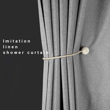 Shower-Curtains Hooks Fabric Bath Japanese Polyester Gold Waterproof Linen Thicken Washable