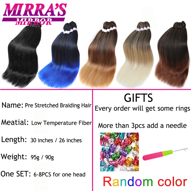 30inch Jumbo Braids Hair Extensions Braiding Hair Pre Stretched Ombre Synthetic Braid YAKI Texture 1/2/4/6/8 Pcs Mirra's Mirror 3