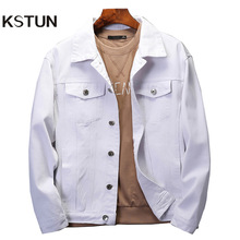 Denim Jacket Outwear Turn-Down-Collar Pink Casual Coats Black White Men Plus-Size Solid