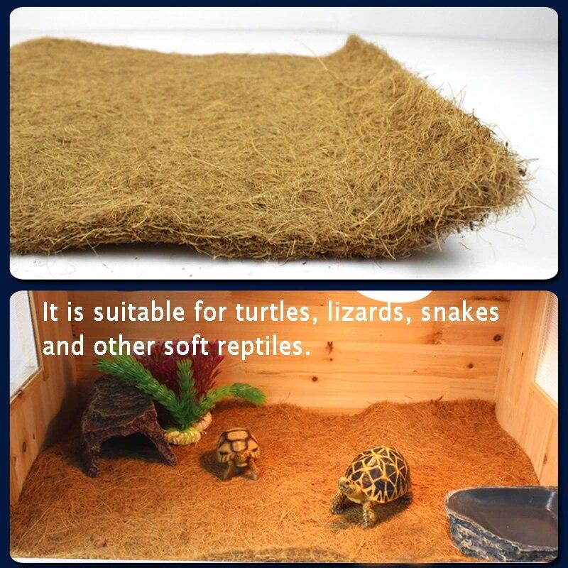 Cuttable Reptiles Bedding Liner Climbing Carpet Snakes Bearded Dragon for Iguanas Anoles Natural Coconut Palm Mat Coconut Fiber Pet Carpet Liner Pad Tortoise Reptile Carpet