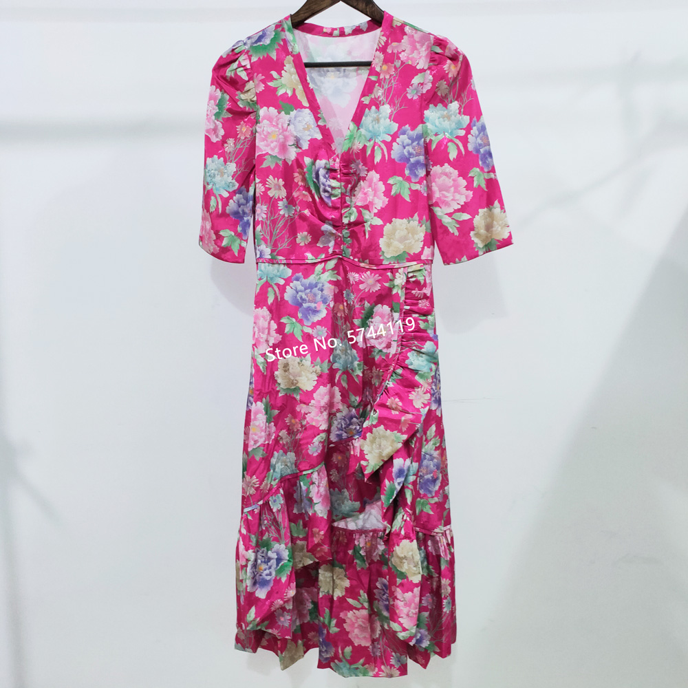 V-neck Irregular Ruffled Hem Lady Midi Dress Half Sleeve Slim Flower Print Women Dress 2020 Spring Summer New