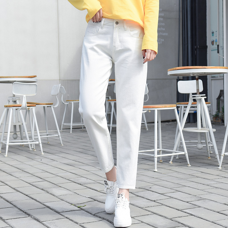 Loose-Fit With Holes White Jeans WOMEN'S Ninth Pants BF Straight-Cut High-waisted Korean-style Students Versatile 9 Solid Color