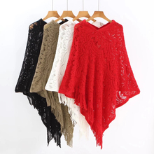 DISIMAN winter autumn Tassel Sweater Poncho Women Knitted Batwing  Cloak pullover sweater woman streetwear free size