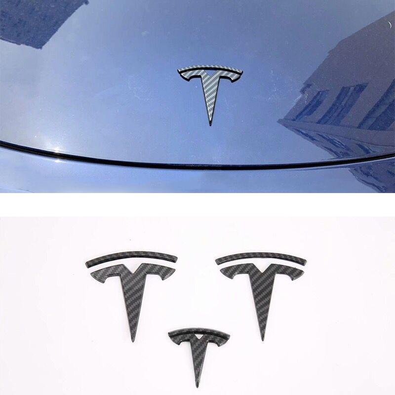 Car logo cover ABS carbon fiber sticker for Tesla Model 3 steering wheel front rear Trunk logo Emblem decoration decals stickers