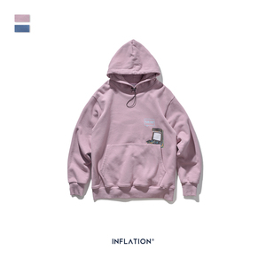 Image 5 - INFLATION FW 2020 Dropped Shoulders Men Hoodies In Pink And Blue With Letter Printing Oversized Men Design Autumn Hoodie 9615W