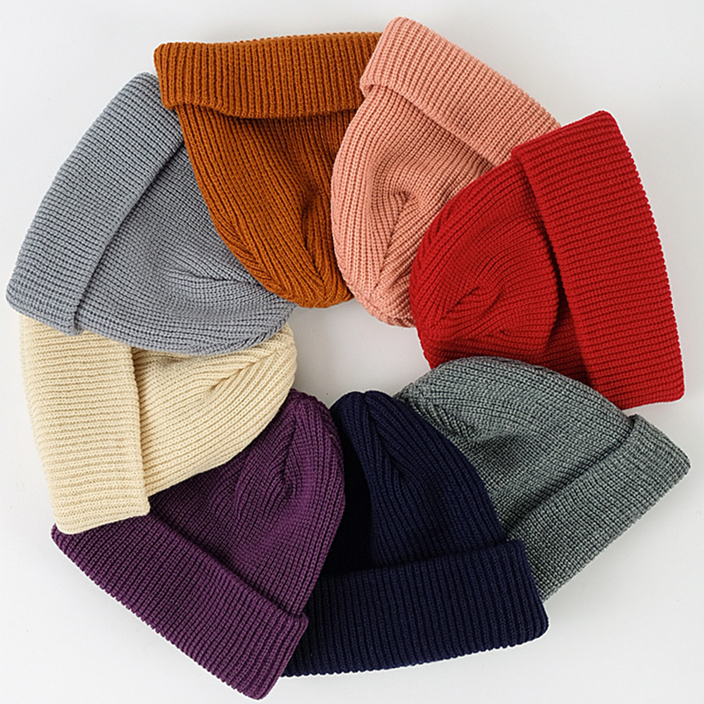 Wool Knit Ski Beani Caps Warm Winter Casual Knitted Hat Casual Men Women Hedging Head Hat Шапка Зимняя