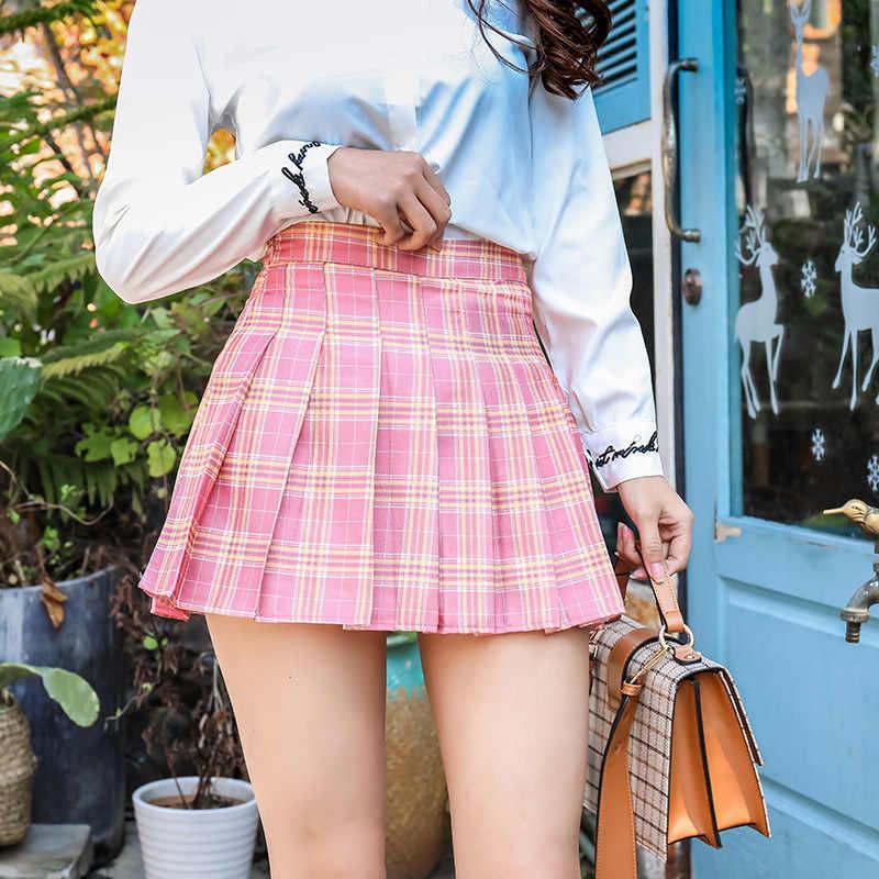 Harajuku Kurzen Rock Neue Koreanische Plaid Röcke Frauen Zipper Hohe Taille Schule Mädchen Gefaltete Plaid Rock Sexy Mini Rock Plus größe
