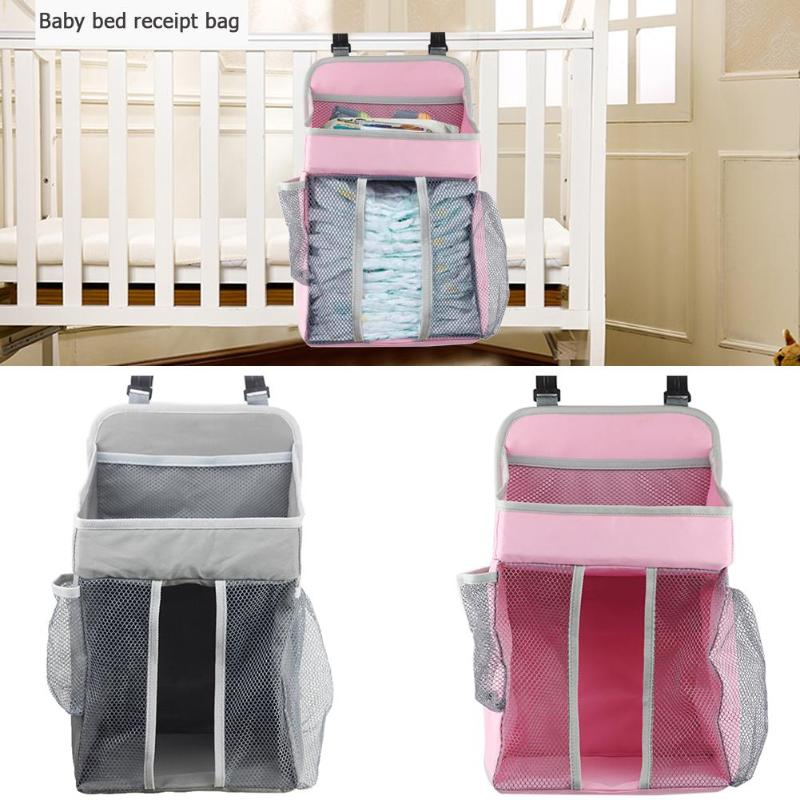 Baby Crib Hanging Bag With Removable Board Portable Bedside Diaper Organizer Infants Cradle Storage Accessories