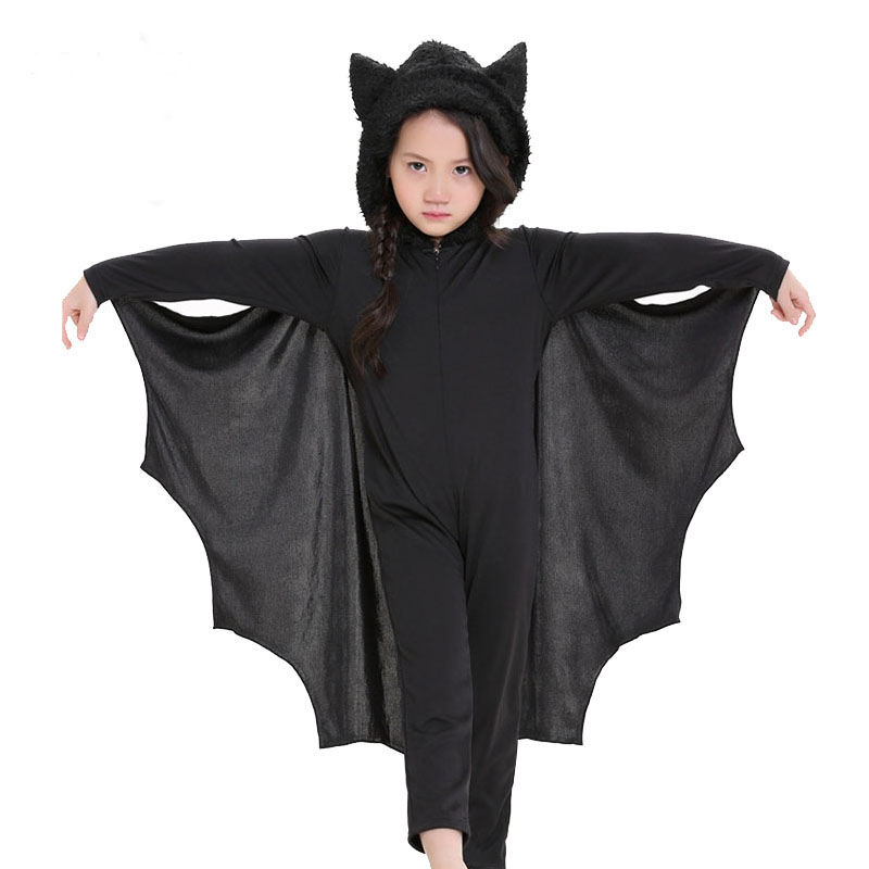 Child Anime Cosplay Bat Costume Kids Halloween Costumes For Girls Black Jumpsuit Connect Wings Cosplay Batman Halloween Dress