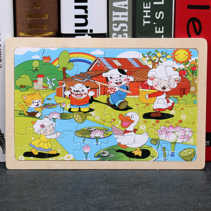 24 Slice Wood Puzzles Children Adults Vehicle Puzzles Wooden Toys Learning Education Environmental Assemble Educational Games 15