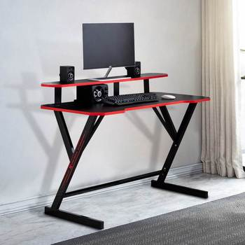 Computer Laptop Desk Modern Style Computer Desk with 2 Tier Shelf Gaming Desks Laptop Table for Home Office Studying Living Room