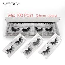 YSDO 25 millimetri Ciglia di Visone Allingrosso 20/30/40/50/100 Pcs di Trucco 3D Ciglia di Visone 25 millimetri lungo Falsi Ciglia Drammatico Ciglia maquiagem