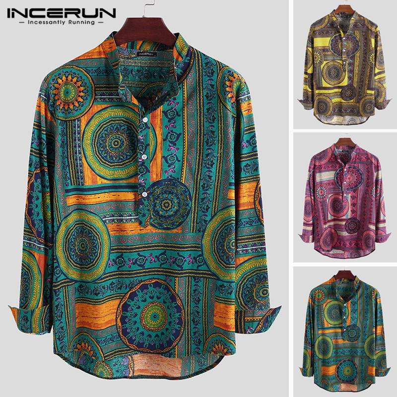Men's Shirt Printing Cotton Stand Collar Long Sleeve Loose 2020 Ethnic Style Vintage Casual Shirts Men INCERUN camisa masculina